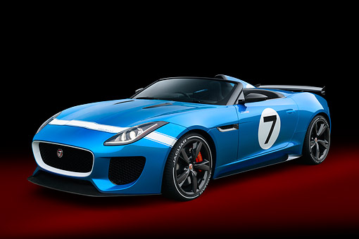 AUT 09 RK1320 01 © Kimball Stock Jaguar Project 7 Concept Blue 3/4 Front View In Studio