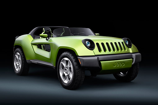 AUT 09 RK1321 01 © Kimball Stock 2008 Jeep Renegade Concept Green 3/4 Front View In Studio