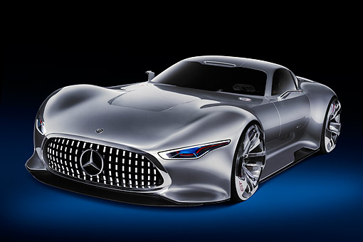 AUT 09 RK1323 01 © Kimball Stock Mercedes-Benz AMG Vision Gran Turismo Concept Silver 3/4 Front View In Studio