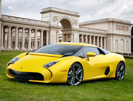 AUT 09 RK1330 01 © Kimball Stock Lamborghini 595 Zagato Yellow 3/4 Front View By Ancient Coliseum