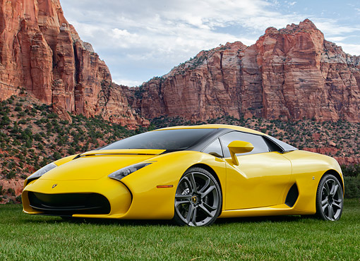 AUT 09 RK1331 01 © Kimball Stock Lamborghini 595 Zagato Yellow 3/4 Front View Parked On Desert Field