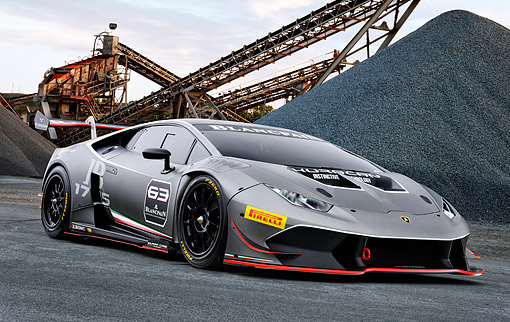 AUT 09 RK1332 01 © Kimball Stock Lamborghini Huracan Super Trofeo Silver 3/4 Front View At Construction Site