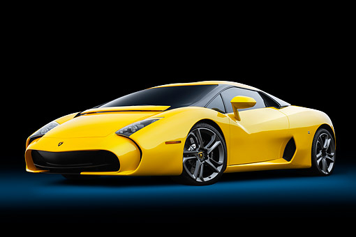 AUT 09 RK1340 01 © Kimball Stock Lamborghini 595 Zagato Yellow 3/4 Front View In Studio