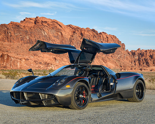 AUT 09 RK1347 01 © Kimball Stock Pagani Huayra 3/4 Front View In Desert