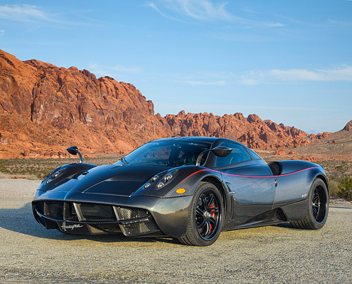 AUT 09 RK1348 01 © Kimball Stock Pagani Huayra 3/4 Front View In Desert