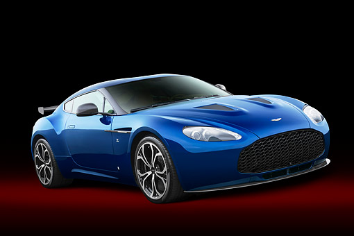 AUT 09 RK1350 01 © Kimball Stock Aston Martin V12 Zagato Blue Low 3/4 Front View In Studio