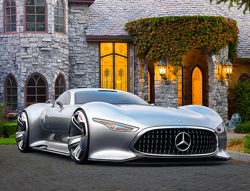 AUT 09 RK1355 01 © Kimball Stock Mercedes AMG Vision GT Silver 3/4 Front View On Pavement