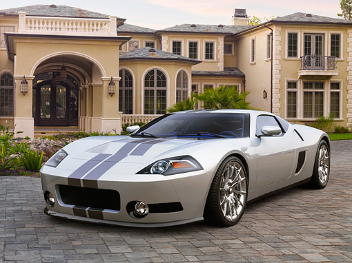 AUT 09 RK1357 01 © Kimball Stock Galpin Ford GTR1 Concept Silver 3/4 Front View On Stone By House