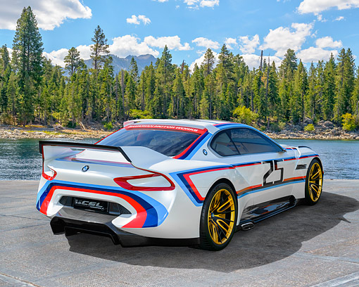 AUT 09 RK1360 01 © Kimball Stock BMW 3.0 CSL Hommage Concept Car 3/4 Rear View By Mountain Lake