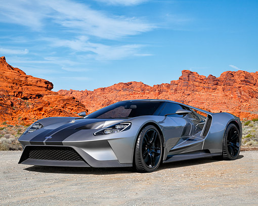 AUT 09 RK1363 01 © Kimball Stock Ford GT Concept Silver 3/4 Front View In Desert
