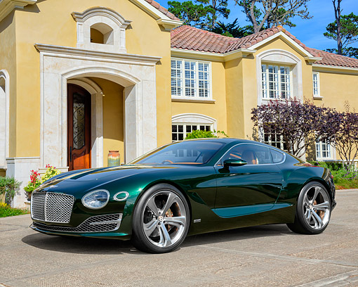 AUT 09 RK1368 01 © Kimball Stock Bentley Motors EXP 10 Speed 6 Hybrid Concept Car Green 3/4 Front View By House