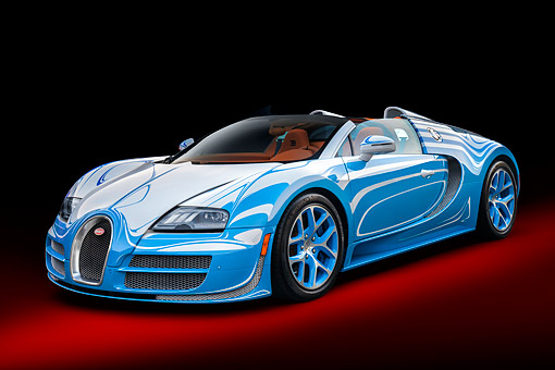 AUT 09 RK1370 01 © Kimball Stock Bugatti Veyron Vitesse L'or Blanc Blue One-Off Supercar 3/4 Front View In Studio