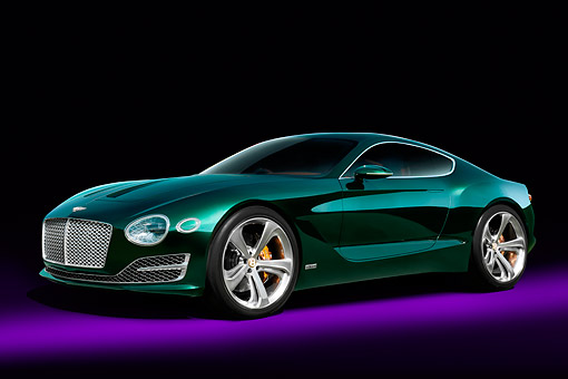 AUT 09 RK1372 01 © Kimball Stock Bentley Motors EXP 10 Speed 6 Hybrid Concept Car Green 3/4 Front View In Studio