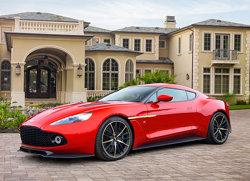 AUT 09 RK1374 01 © Kimball Stock Aston Martin Vanquish Zagato Coupe Concept Car Red 3/4 Front View By Building
