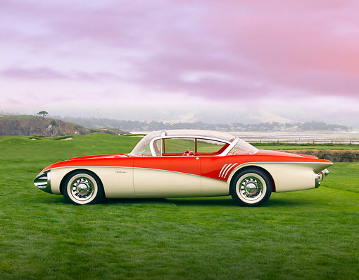 AUT 09 BK0016 01 © Kimball Stock 1956 XP-301 Buick Centurion Coupe Red And White Concept Profile View On Grass By Ocean