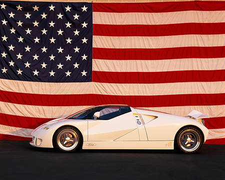 AUT 09 RK0086 08 © Kimball Stock Ford GT-90 Prototype White Profile American Flag Background