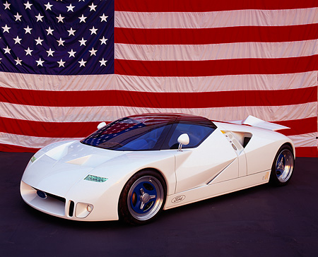 AUT 09 RK0088 02 © Kimball Stock Ford GT-90 Prototype White Overhead 3/4 Front View American Flag Background