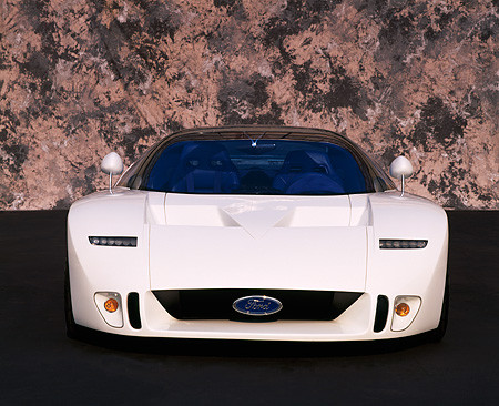 AUT 09 RK0089 03 © Kimball Stock Ford GT-90 Prototype White  Head On View Marble Background