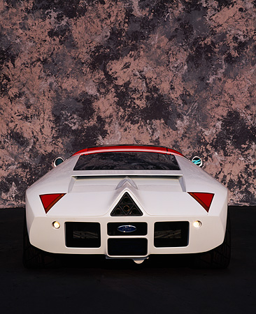 AUT 09 RK0091 01 © Kimball Stock Ford GT-90 Prototype White Rear View Marble Background
