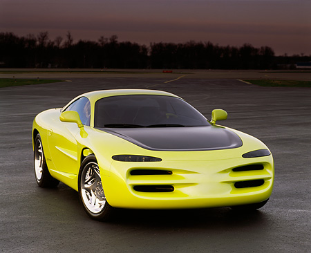 AUT 09 RK0115 05 © Kimball Stock 1994 Dodge Venom Concept Yellow 3/4 Front View On Pavement