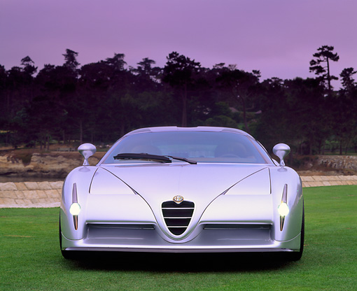 AUT 09 RK0154 02 © Kimball Stock Alfa Romeo Scighera Concept Car Silver Head On Shot On Grass By Water And Trees Headlights On At Dusk