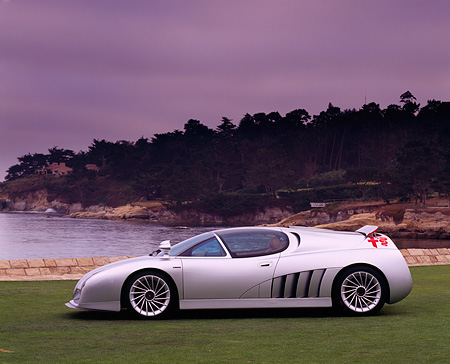 AUT 09 RK0166 01 © Kimball Stock Alfa Romeo Scighera Concept Car Silver Profile On Grass By Water And Trees