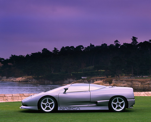 AUT 09 RK0187 01 © Kimball Stock BMW Ital Design Nazca Concept Car Silver Profile View On Grass Gray Sky By Water