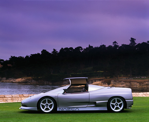 AUT 09 RK0190 01 © Kimball Stock BMW Nazca Ital Design Silver Profile View On Grass By Lake And Trees