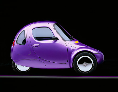 AUT 09 RK0212 01 © Kimball Stock 1998 Corbin Sparrow Electric Car Purple Profile On Gray And Purple Lines Studio Background