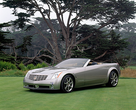 AUT 09 RK0306 02 © Kimball Stock Cadillac Evoq Convertible Silver Concept Car 3/4 Side View On Grass By Trees