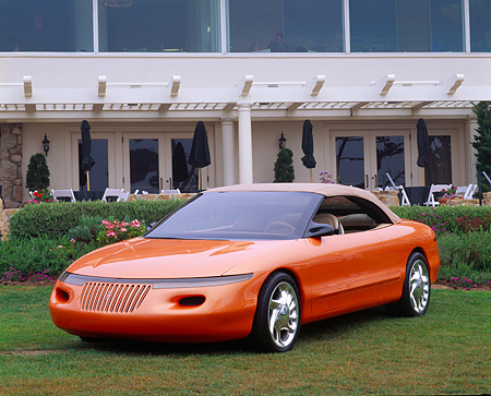 AUT 09 RK0369 02 © Kimball Stock Lincoln Marque X Concept Car Front 3/4 View On Grass By Building