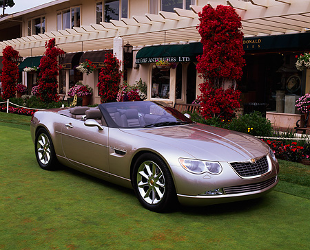 AUT 09 RK0395 03 © Kimball Stock Chrysler 300 Hemi C Prototype Champagne 3/4 Front View On Grass By Building
