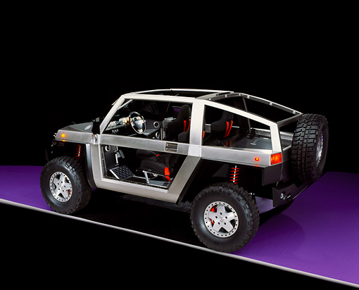 AUT 09 RK0399 16 © Kimball Stock Model E Ironman Concept Car  3/4 Rear View On Purple Floor Studio