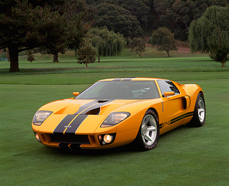 AUT 09 RK0488 03 © Kimball Stock Ford GT40 Prototype Orange And Black Stripes 3/4 Front View On Grass With Trees