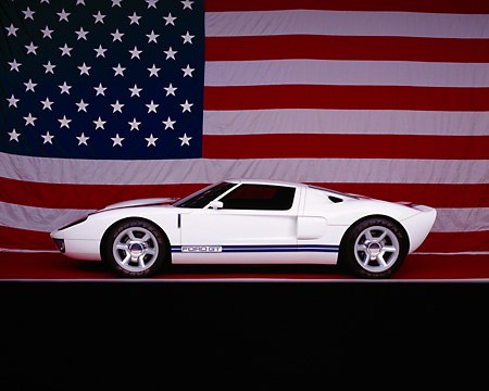 AUT 09 RK0689 15 © Kimball Stock Ford GT Concept White And Blue Profile View Studio