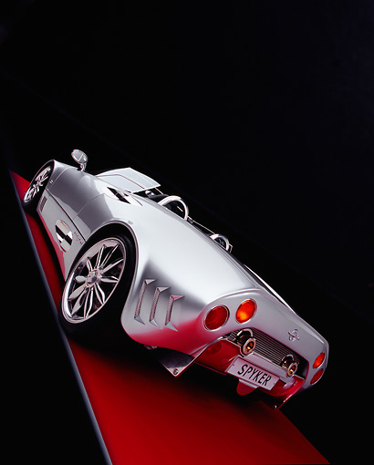 AUT 09 RK0775 05 © Kimball Stock Spyker C8 Spyder T Silver Concept Slanted 3/4 Rear View Studio