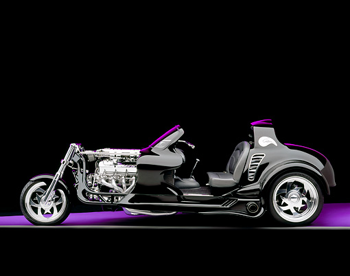 AUT 09 RK0782 03 © Kimball Stock 2004 Creative Hot Rods The Eliminator Black Profile View Studio