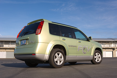 AUT 09 RK0867 01 © Kimball Stock Nissan X-Trail FCV Fuel Cell Car Light Green Low Rear 3/4 View On Pavement