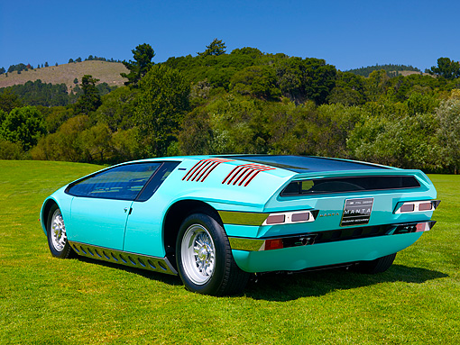 AUT 09 RK0889 01 © Kimball Stock 1969 Bizzarrini Manta Green Rear 3/4 View On Grass