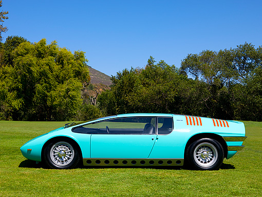 AUT 09 RK0891 01 © Kimball Stock 1969 Bizzarrini Manta Green Profile View On Grass