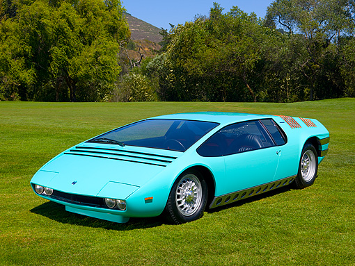 AUT 09 RK0892 01 © Kimball Stock 1969 Bizzarrini Manta Green Front 3/4 View On Grass