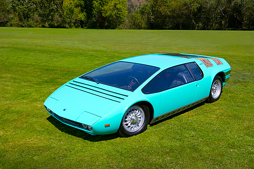 AUT 09 RK0895 01 © Kimball Stock 1969 Bizzarrini Manta Green Overhead 3/4 Front View On Grass