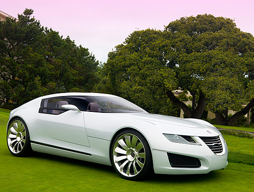 AUT 09 RK0898 01 © Kimball Stock Saab Aero X Concept White 3/4 Front View On Turf By Trees