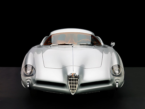 AUT 09 RK0932 01 © Kimball Stock 1955 Alfa Romeo Bertone B.A.T 9 Silver Head On View Studio