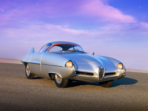 AUT 09 RK0934 01 © Kimball Stock 1955 Alfa Romeo Bertone B.A.T 9 Silver Low 3/4 Front View On Pavement