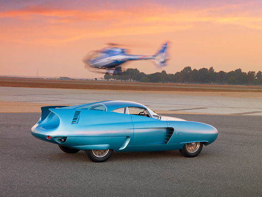 AUT 09 RK0951 01 © Kimball Stock 1954 Alfa Romeo Bertone B.A.T. 7 Teal 3/4 Rear View On Pavement By Helicopter