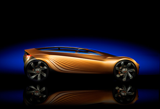 AUT 09 RK0969 01 © Kimball Stock 2006 Mazda Nagare Gold Concept Car Profile View