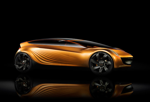 AUT 09 RK0970 01 © Kimball Stock 2006 Mazda Nagare Gold Concept Car 3/4 Side View
