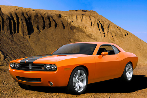 AUT 09 RK1002 01 © Kimball Stock Dodge Challenger Orange Black Stripe 3/4 Front View On Dirt