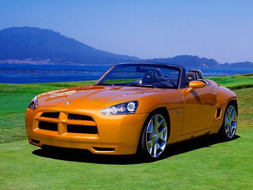 AUT 09 RK1022 01 © Kimball Stock Dodge Demon Concept Yellow 3/4 Front View On Grass By Mountain